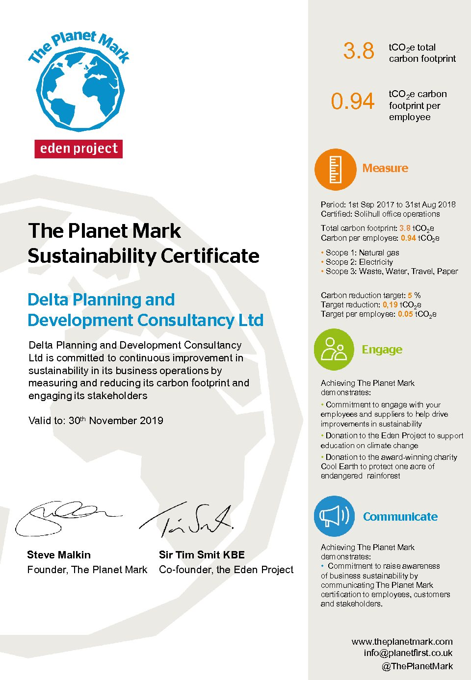 Delta Planning Secures Planet Mark Certification Delta Planning
